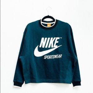 Teal nike womens sportswear ringer crewneck